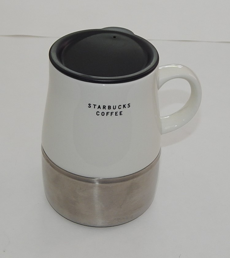 2004 Stainless Ceramic Starbucks Coffee Tea Mug Travel Cup