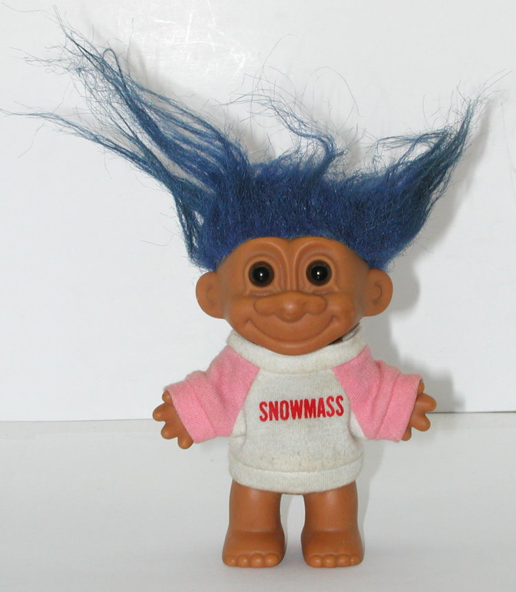 Blue Russ Troll Doll With Pink Snowmass Sweater