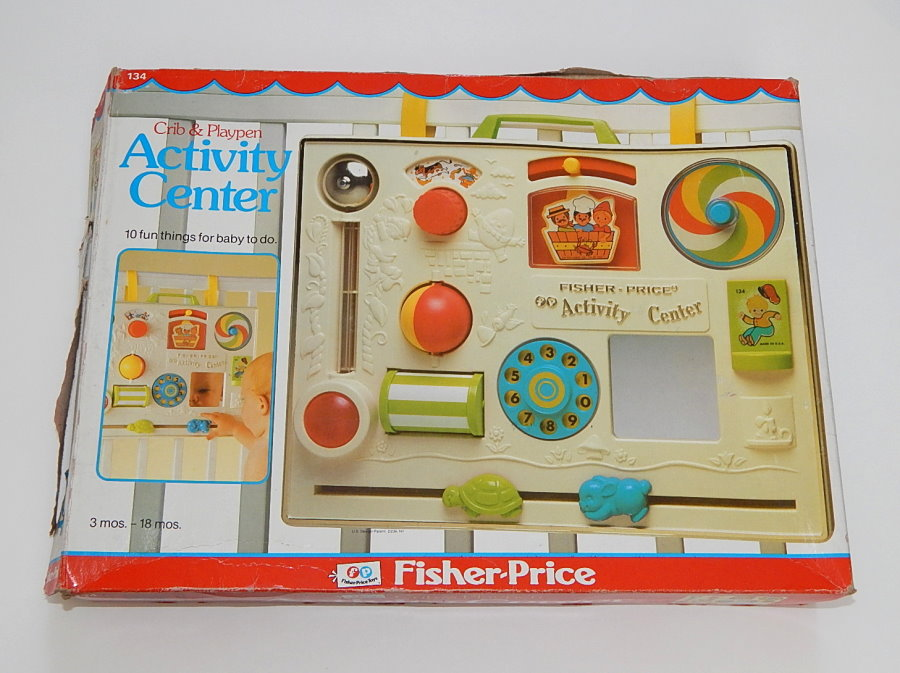 in box 1984 fisher price retro infant crib activity center. Black Bedroom Furniture Sets. Home Design Ideas